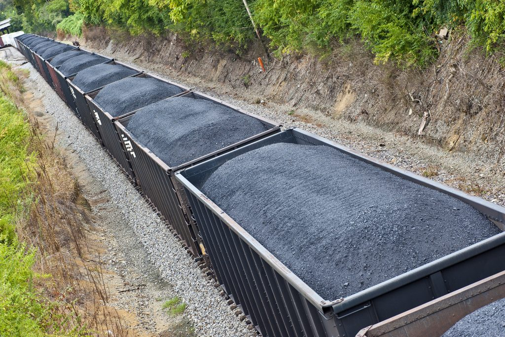 Coal Cars On A Long Freight Train